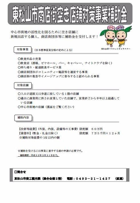 商店街空き店舗対策事業【東松山市】