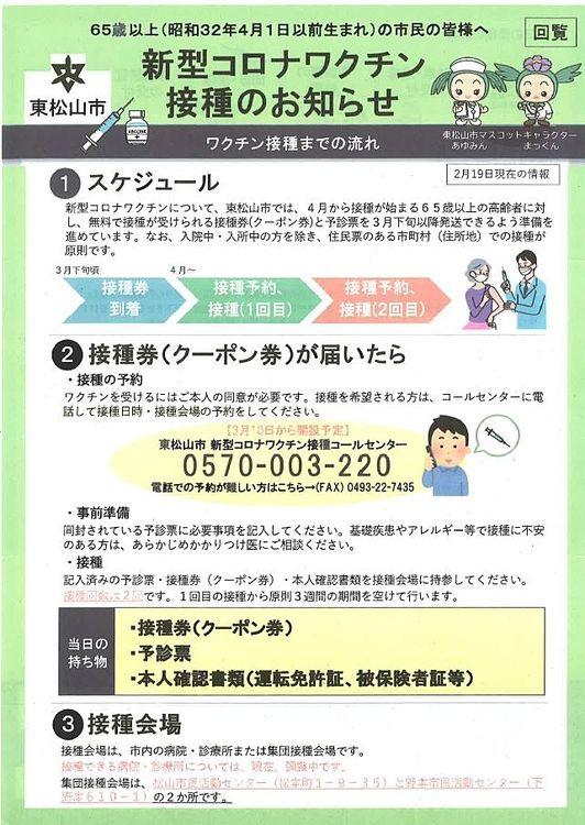 東松山市「新型コロナワクチン接種」情報です!
