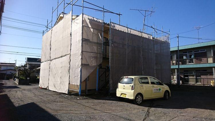幸町クローバーコーポA棟外壁塗装始まりました!