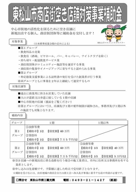 【店舗 情報】商店街空き店舗対策事業【東松山市】